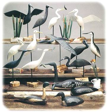 carved shorebird decoys