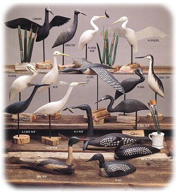 carved shorebird decoys by Richard Morgan